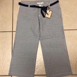 American Rag size 1 blue/white stripe wide leg